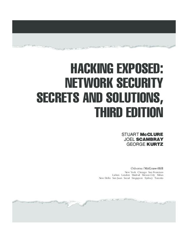 (PDF) HACKING EXPOSED: NETWORK SECURITY SECRETS AND