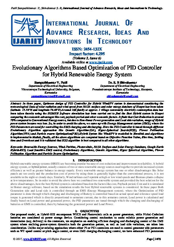 PDF) Evolutionary Algorithms Based Optimization of PID Controller
