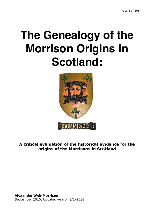 PDF) The Genealogy of the Morrison Origins in Scotland: A critical
