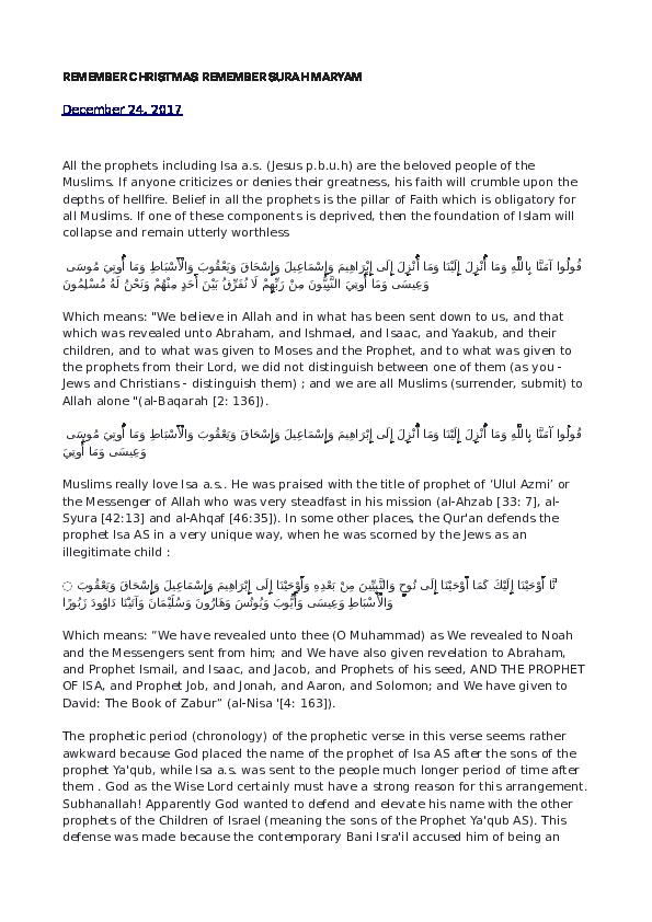 PDF) REMEMBER CHRISTMAS REMEMBER SURA MARYAM | Azlan A  H
