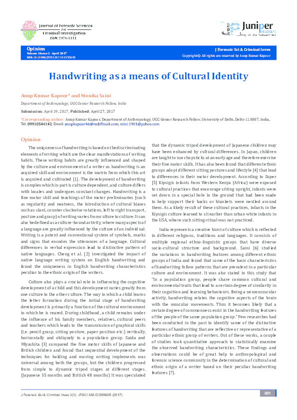 PDF) Handwriting as a means of Cultural Identity Opinion