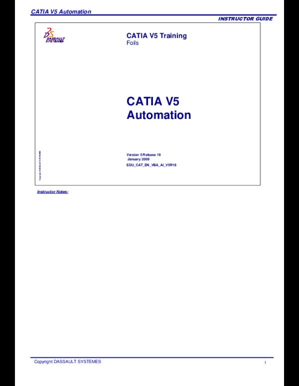PDF) CATIA V5 Automation CATIA V5 Automation CATIA V5
