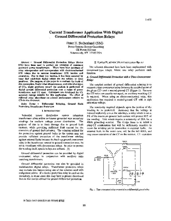 PDF) Current Transformer Application With Digital Ground
