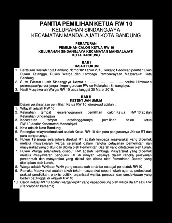 Doc Panitia Pemilihan Ketua Rw 10 Dulur Farhan Academiaedu