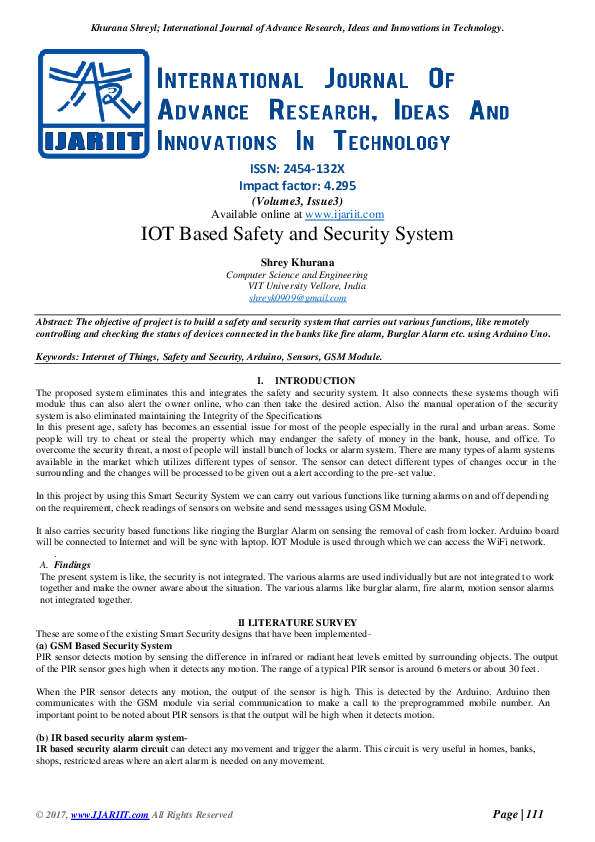 PDF) IOT Based Safety and Security System | vignesh l