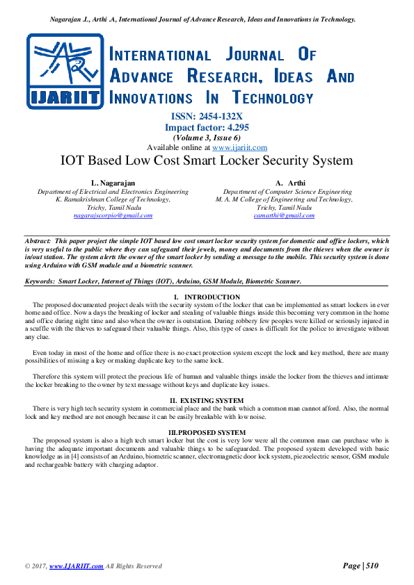 PDF) IOT Based Low Cost Smart Locker Security System | Ijariit