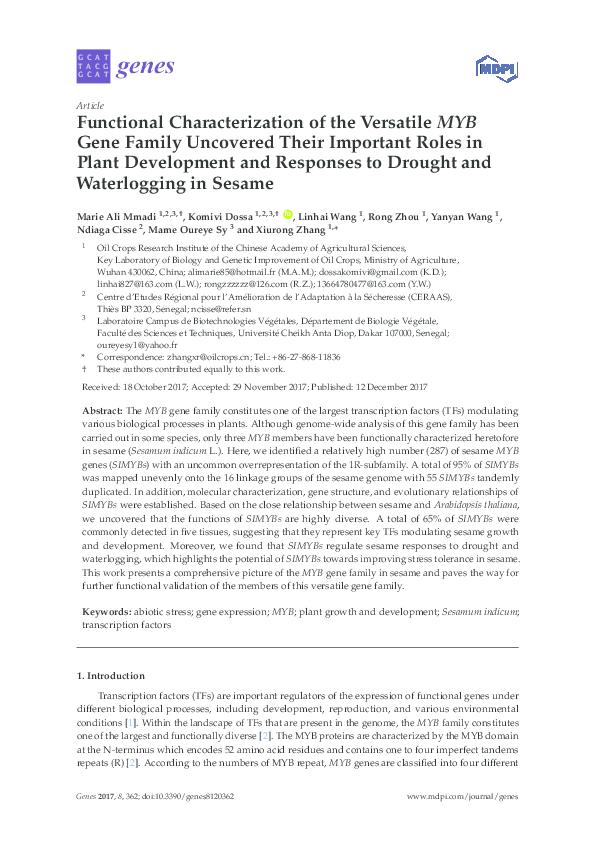 PDF) Functional Characterization of the Versatile MYB Gene Family