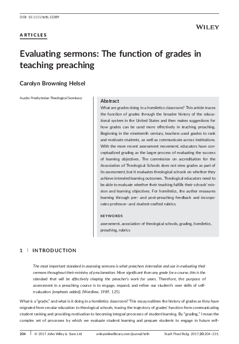 PDF) Evaluating sermons: The function of grades in teaching