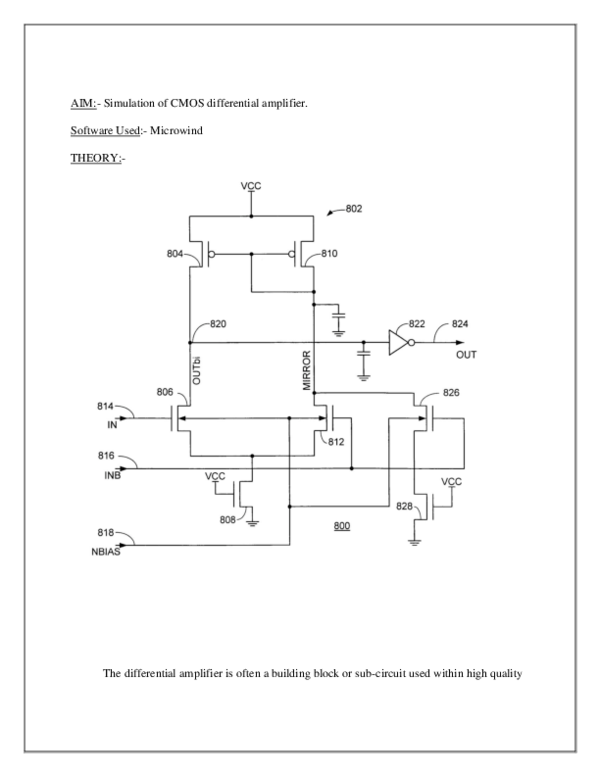 DOC) AIM:-Simulation of CMOS differential amplifier