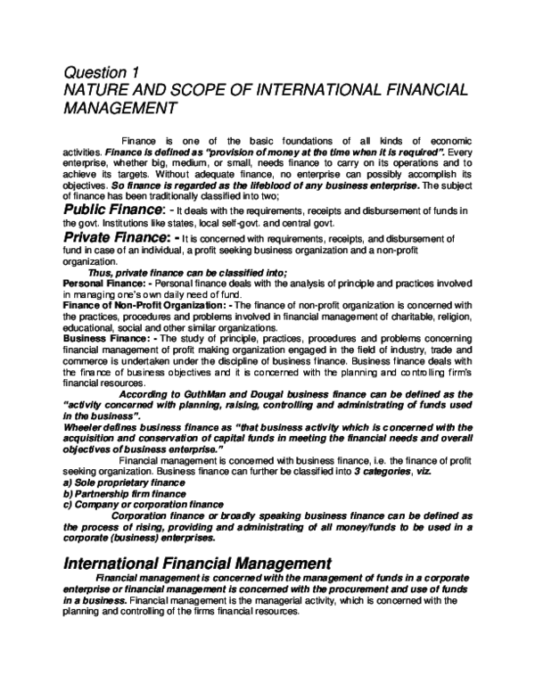 Doc Question 1 Nature And Scope Of International Financial Management Mohammad Rafi Academia Edu