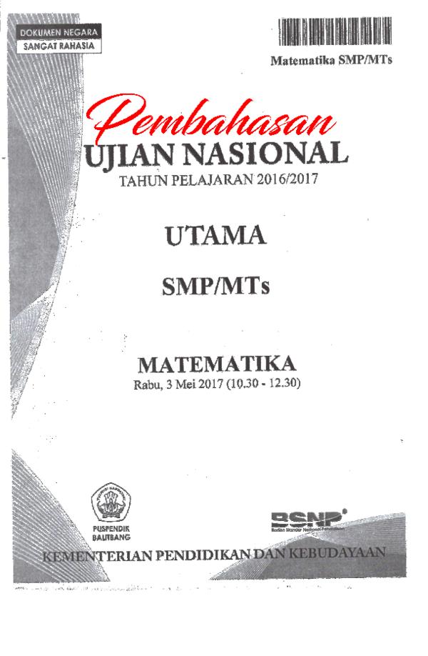 Pdf Pembahasan Un Matematika Smp 2017 Yan Aryana Academia Edu