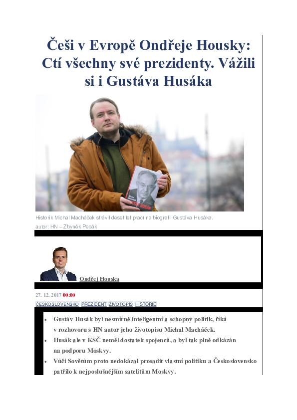 Cesi Cti Sve Prezidenty Vazili Si I Husaka In Hospodarske Noviny