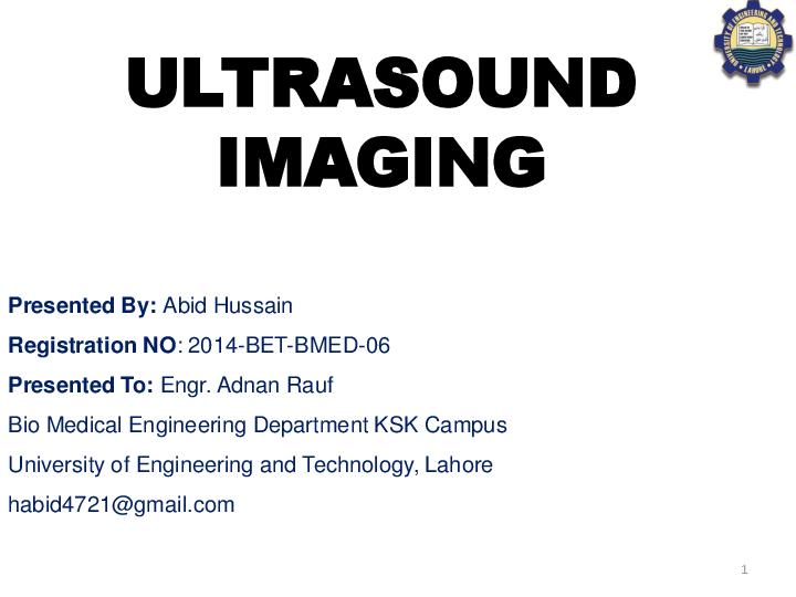 PPT) Ultrasound Imaging ppt | Abid Hussain - Academia edu