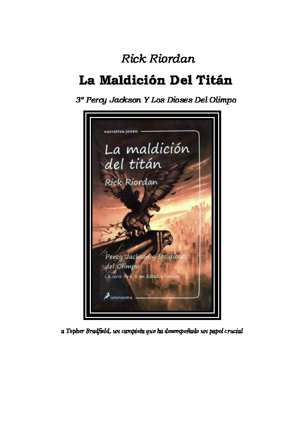 Lavabo Olimpo Roca.Pdf Percy Jackson Y La Maldicion Del Titan Aldrich
