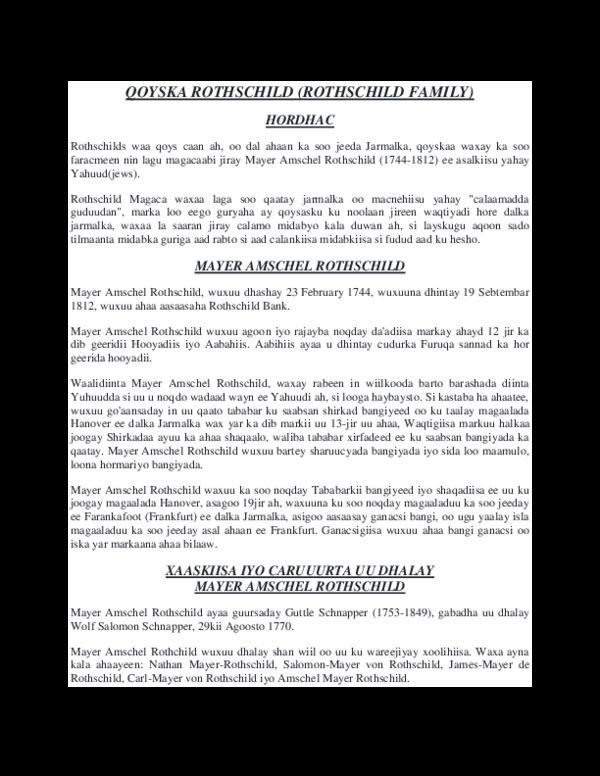 DOC) QOYSKA ROTHSCHILD (ROTHSCHILD FAMILY   Dalmar Cabdi