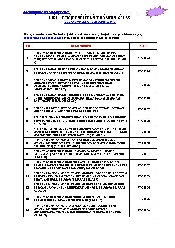 Skripsi Penelitian Tindakan Kelas Biologi Pdf Kumpulan Berbagai Skripsi