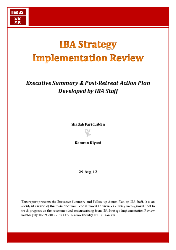 Pdf Iba Strategy Review Executive Summary Post Retreat Action Plan Shadab Fariduddin Academia Edu