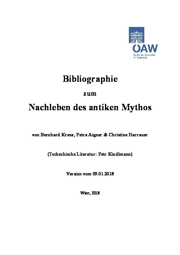 Pdf Bibliographie Zum Nachleben Des Antiken Mythosversion