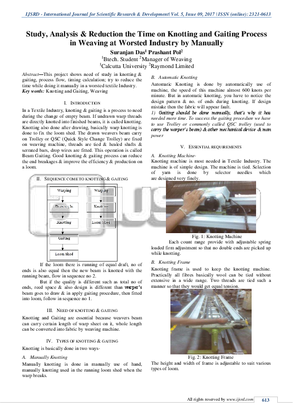 PDF) Study, Analysis & Reduction the Time on Knotting and Gaiting