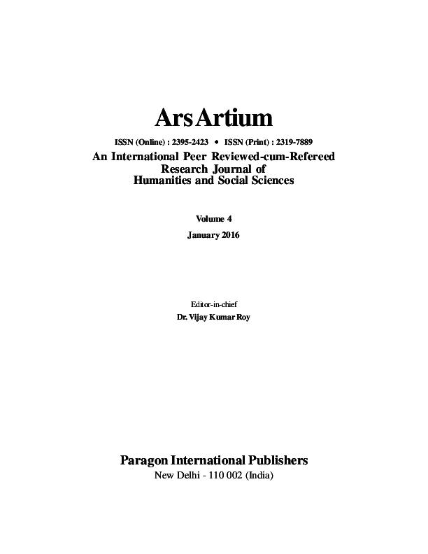 PDF) Vol  4, January 2016 | Ars Artium, An International