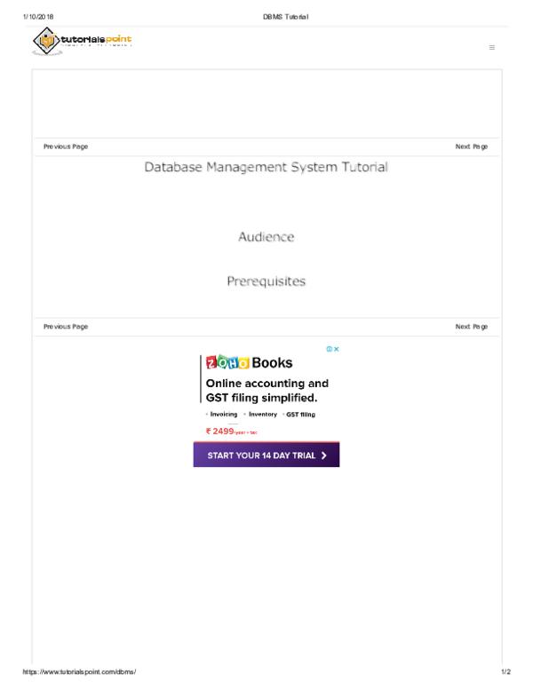 PDF) Database Management System Tutorial | sibananda meher
