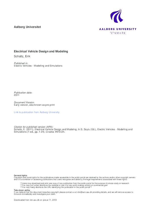 PDF) Electrical Vehicle Design and Modeling | Udit Sangwan