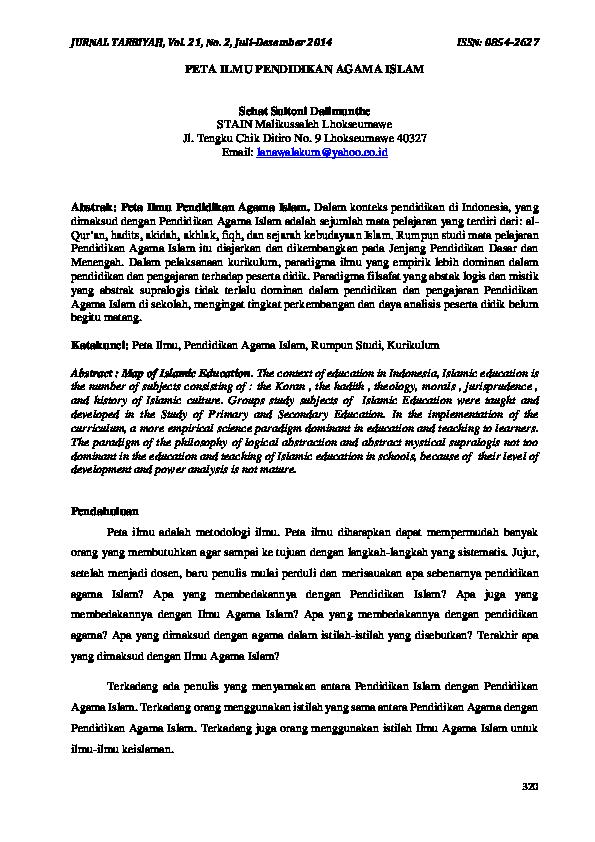 Pdf 320 Peta Ilmu Pendidikan Agama Islam Jurnal Tarbiyah And Sehat Dhalimunthe Academia Edu