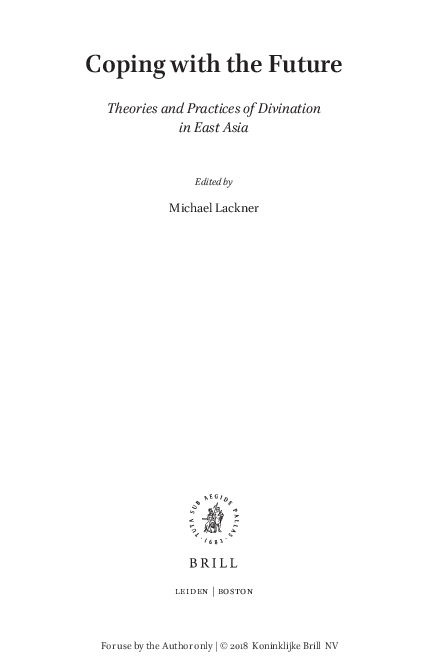 PDF) Early Chinese Divination and Its Rhetoric pdf | Martin
