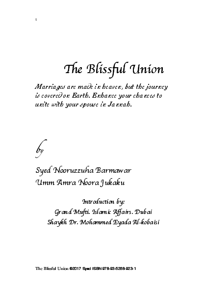 PDF) The Blissful Union | Syed Nooruzuha Barmaver and Noora
