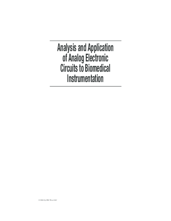 PDF) Analysis and Application of Analog Electronic Circuits