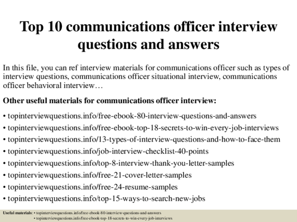 Pdf Top 10 Communications Officer Interview Questions And Answers