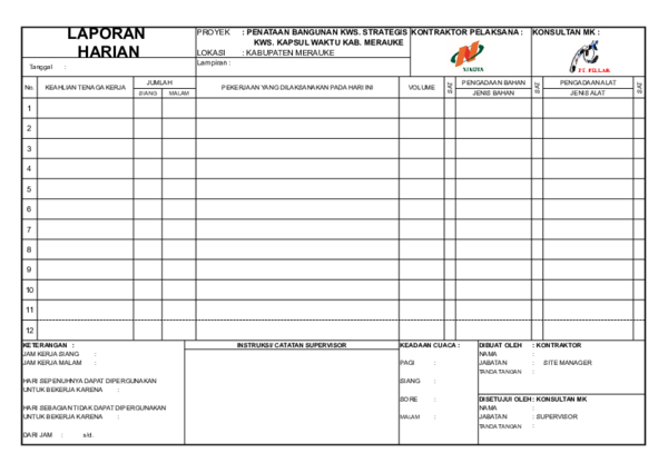 Xls 2 Form Laporan Harian Xlsx Fikri Wardhani Academia Edu