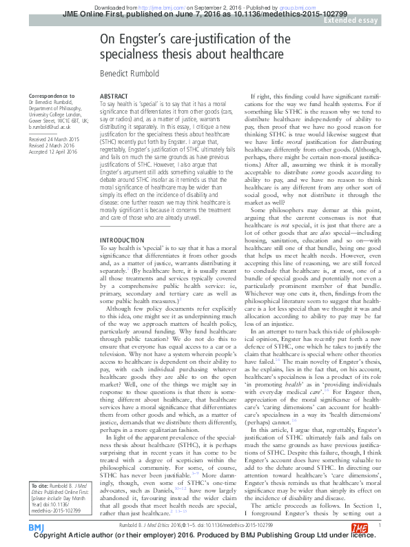 pdf on engsters care justification of the specialness thesis about  pdf