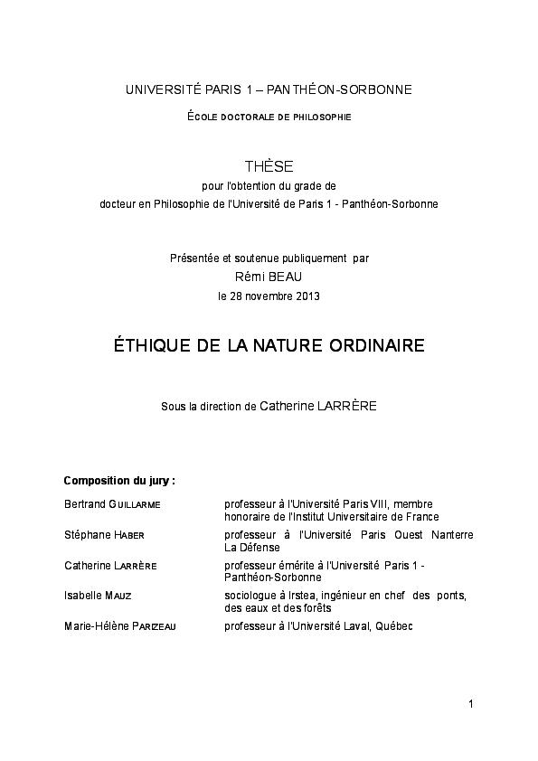 Ethique De La Nature Ordinaire Thèse De Philosophie Université