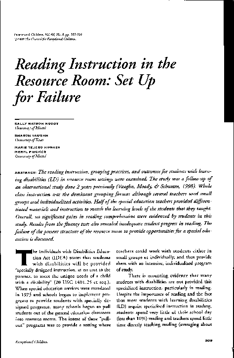 Pdf Reading Instruction In The Resource Room Set Up For Failure Marie Tejero Hughes Academia Edu