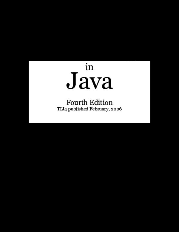 Bruce Eckel Thinking In Java 4th Edition Pdf
