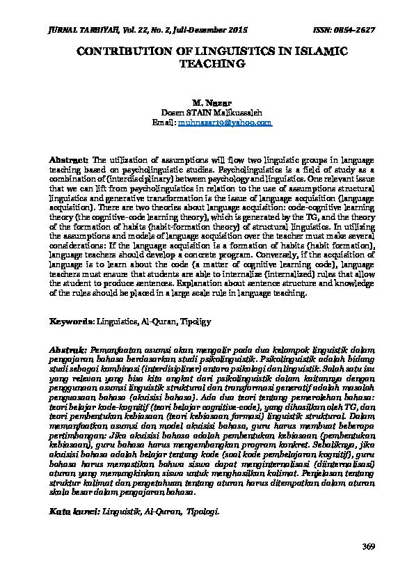 PDF) CONTRIBUTION OF LINGUISTICS IN ISLAMIC TEACHING