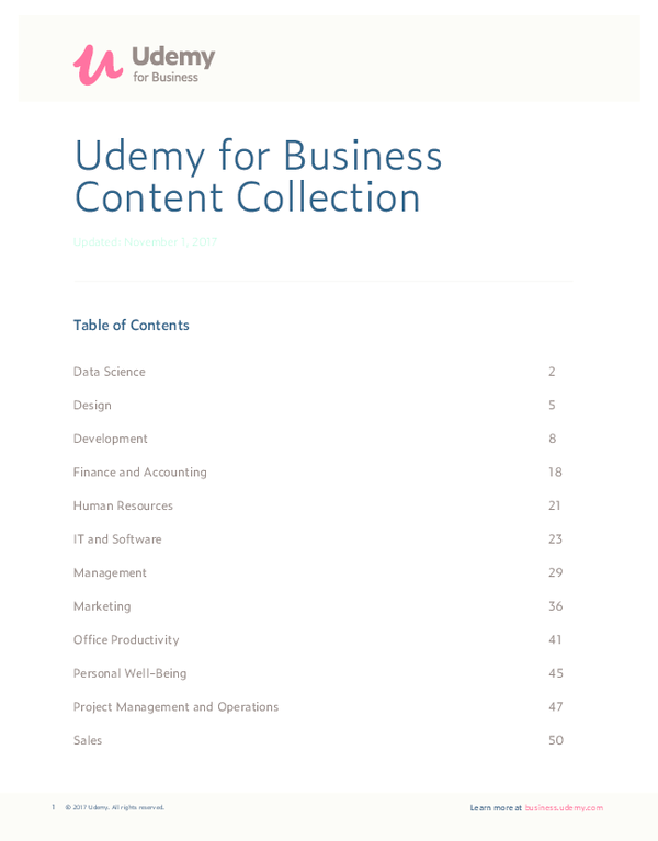 PDF) Udemy for Business Content Collection Table of Contents | José