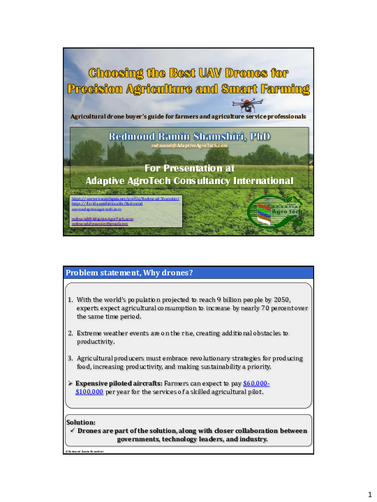 PDF) Choosing the Best UAV Drones for Precision Agriculture and