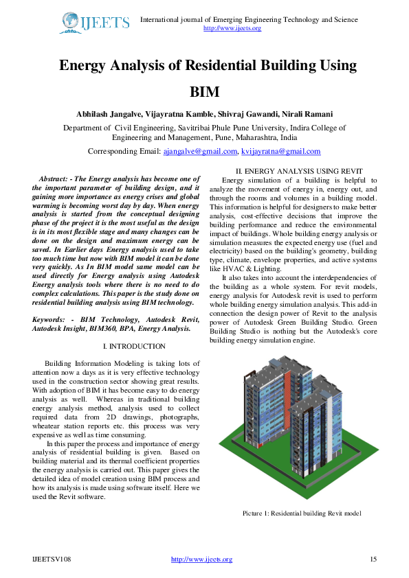 PDF) Energy Analysis of Residential Building Using BIM | IJEETS