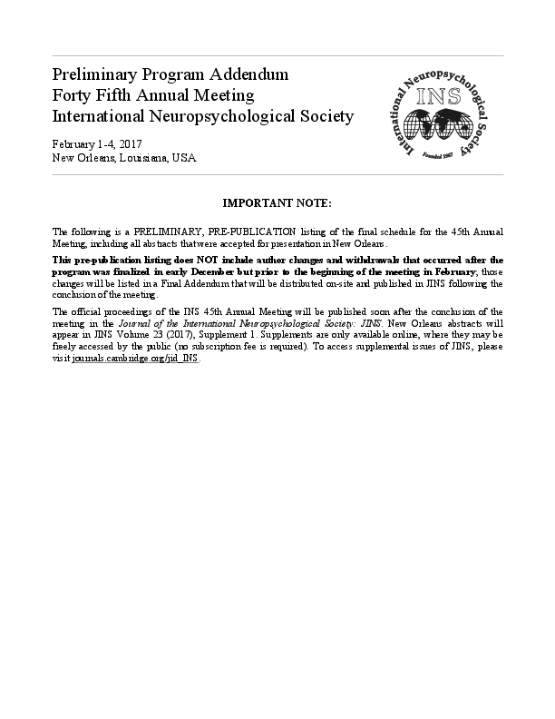 PDF) Preliminary Program Addendum Forty Fifth Annual Meeting