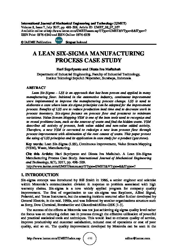 PDF) A LEAN SIX-SIGMA MANUFACTURING PROCESS CASE STUDY