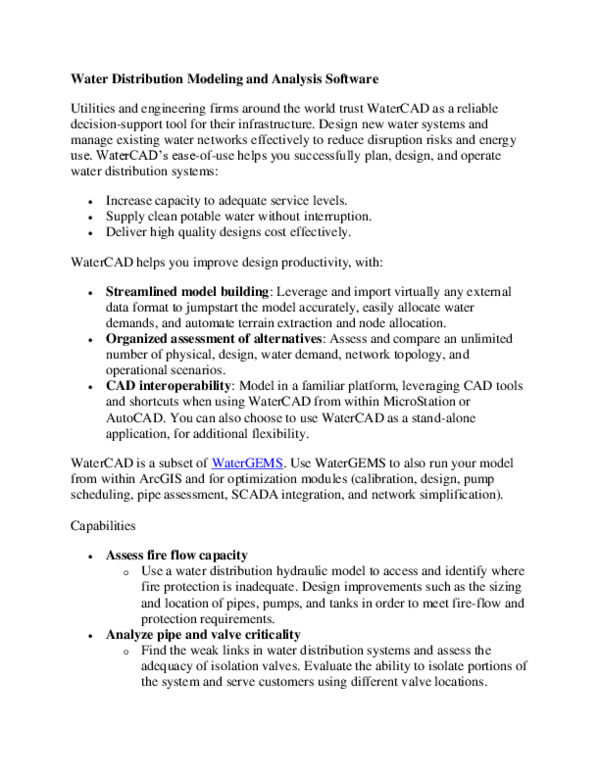 Doc Water Distribution Modeling And Analysis Software Abebayehu Chernet Academia Edu