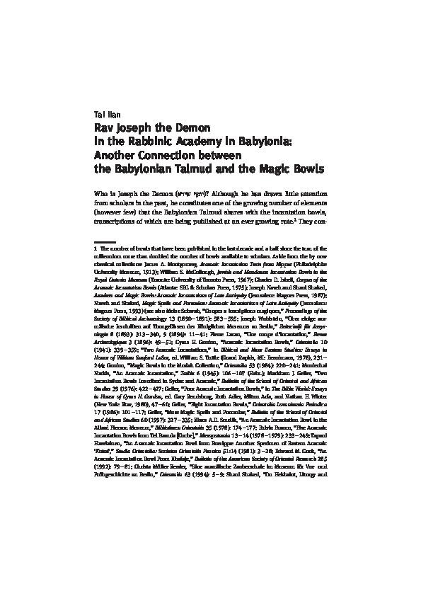 """PDF) 2016 """"Rav Joseph the Demon in the Rabbinic Academy in"""