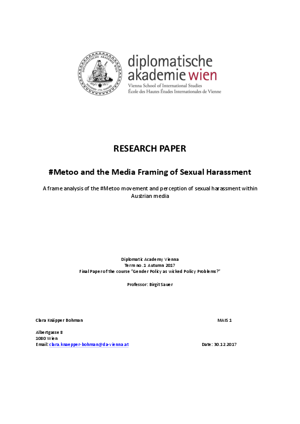 Research paper titles about sexual harassment