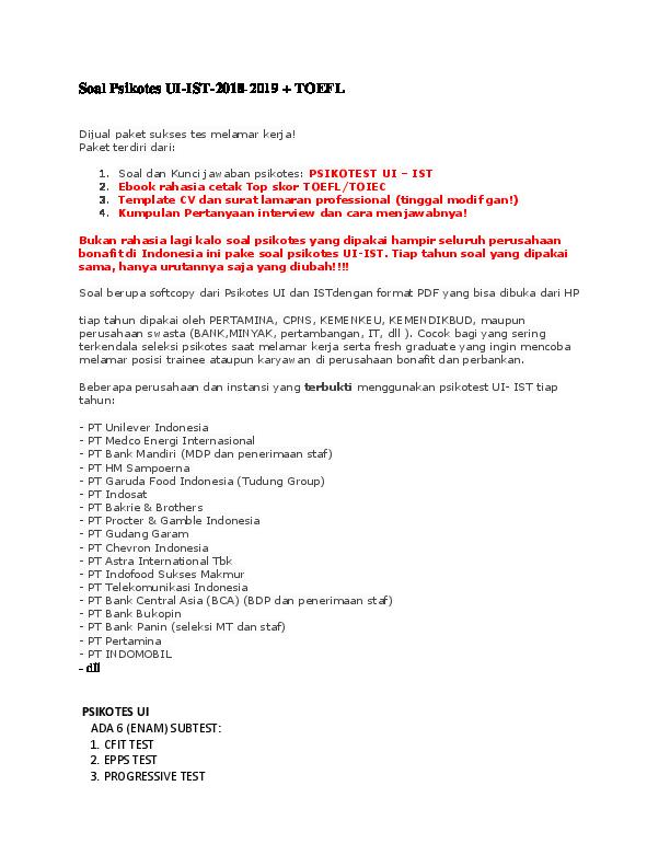 Soal Tes Pengetahuan Umum Perbankan Pdf