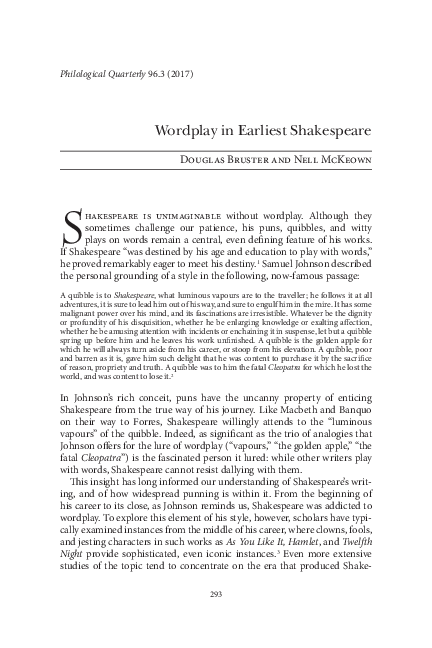 PDF) Wordplay in Earliest Shakespeare | Douglas Bruster - Academia edu