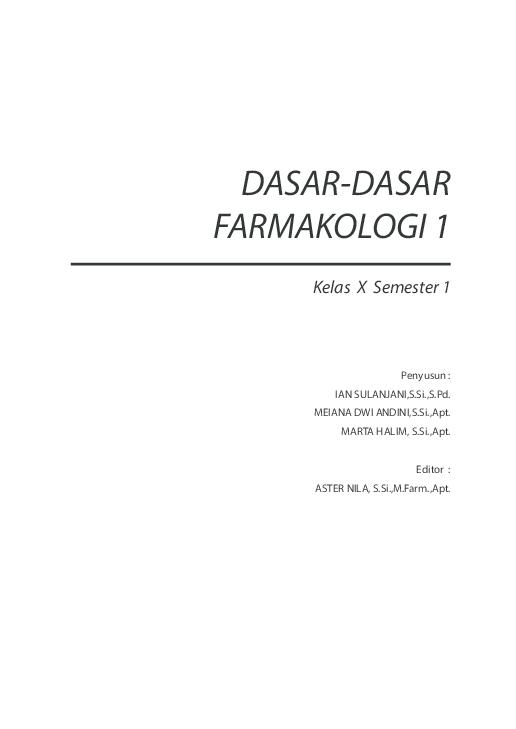 PDF) DASAR DASAR FARMAKOLOGI | nina aulia - Academia edu