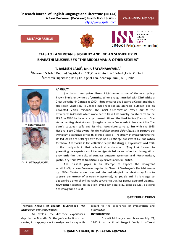 And pdf stories mukherjee the bharati middleman other