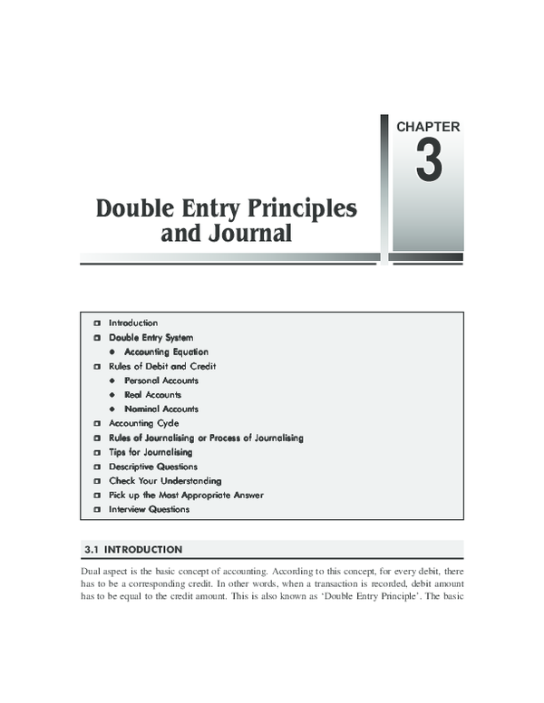 PDF) Chapter 3 Double Entry Principles and Journal | sfiso mdaka